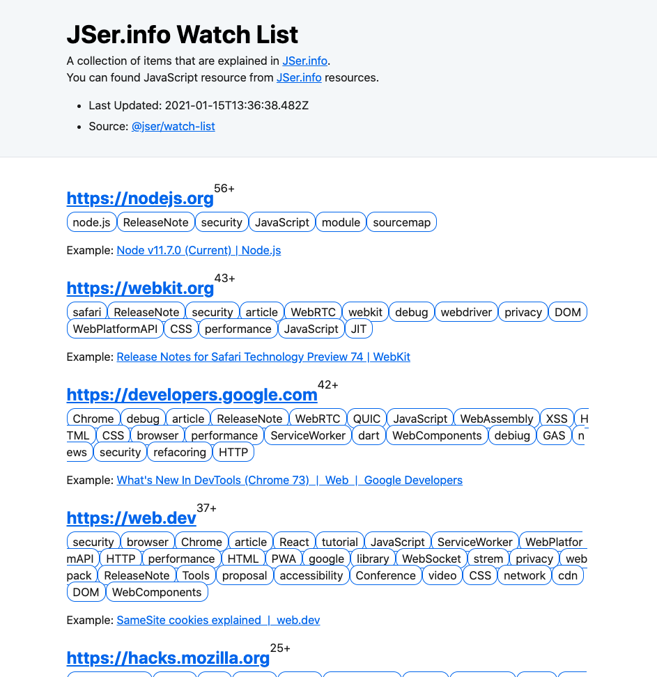 JSer.info Watch List
